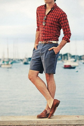How to wear: beige woven leather belt, brown leather loafers, charcoal shorts, red and black check long sleeve shirt