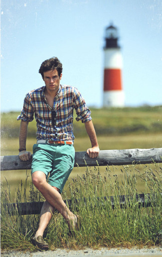 How to wear: white woven belt, olive leather loafers, mint shorts, blue plaid long sleeve shirt