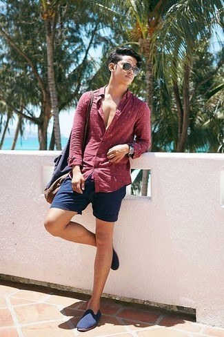 How to wear: navy canvas tote bag, navy canvas loafers, navy shorts, red polka dot long sleeve shirt