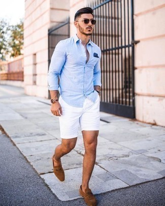 Men's Looks & Outfits: What To Wear In 2020: A light blue long sleeve shirt and white shorts will infuse extra style into your day-to-day casual collection. Spruce up your look with the help of tan suede loafers.
