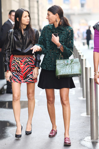 How to wear: green leather satchel bag, burgundy leather loafers, black skater skirt, dark green lace long sleeve blouse