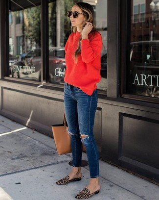 How to wear: tan leather tote bag, tan leopard calf hair loafers, navy ripped skinny jeans, red crew-neck sweater