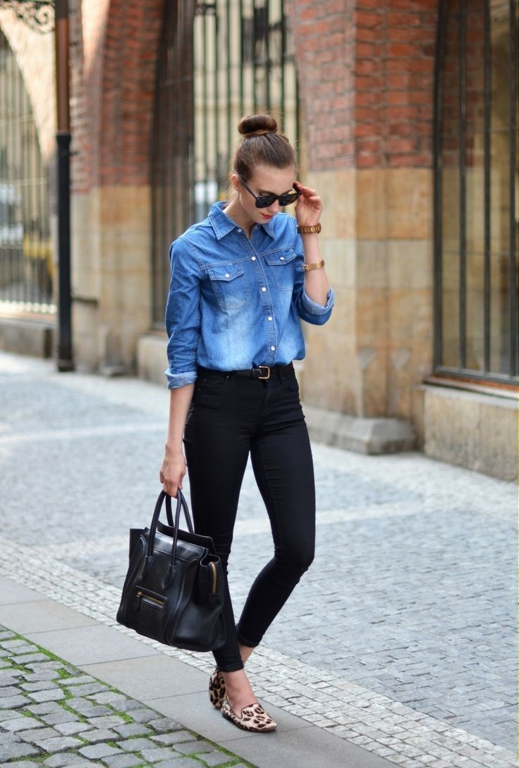 1fa2998be8 Black Skinny Jeans With Denim Shirt