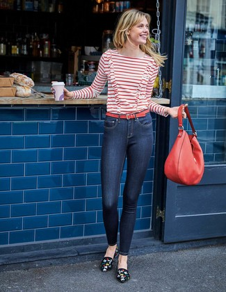 How to wear: red leather tote bag, black embroidered suede loafers, navy skinny jeans, white and red horizontal striped long sleeve t-shirt