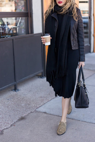 How to wear: black leather tote bag, tan leopard leather loafers, black sweater dress, black quilted leather biker jacket