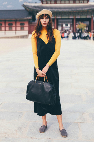 How to wear: black leather tote bag, grey suede loafers, black velvet tank dress, yellow turtleneck