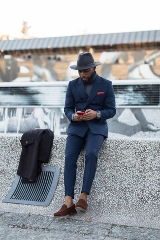 How to wear: charcoal wool hat, brown suede loafers, grey turtleneck, navy suit