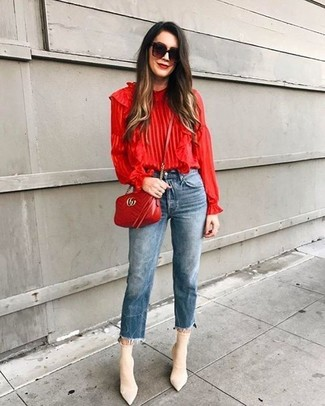 How to wear: red ruffle long sleeve blouse, blue jeans, beige elastic ankle boots, red quilted leather crossbody bag