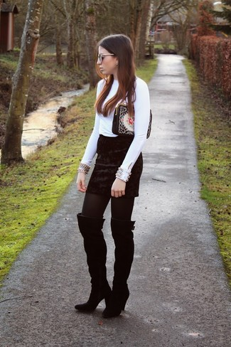 How to wear: white embellished long sleeve blouse, black velvet mini skirt, black suede over the knee boots, black embroidered suede clutch