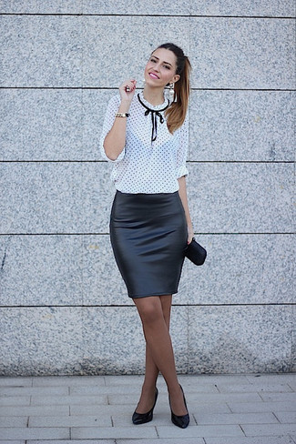 How to wear: white and black polka dot long sleeve blouse, black leather pencil skirt, black leather pumps, black satin clutch