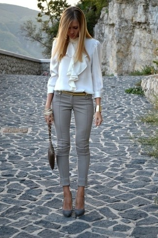 How to wear: white ruffle long sleeve blouse, grey skinny pants, grey suede pumps, dark brown leather clutch