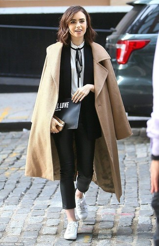 How to wear: black leather skinny pants, white and black long sleeve blouse, black sleeveless blazer, camel coat