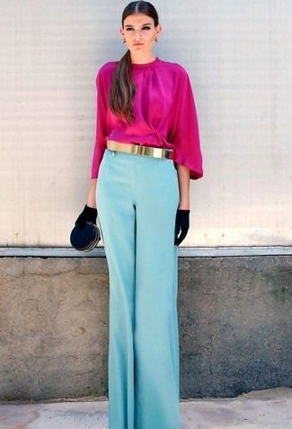 How to wear: hot pink long sleeve blouse, light blue wide leg pants, black suede clutch, black suede gloves