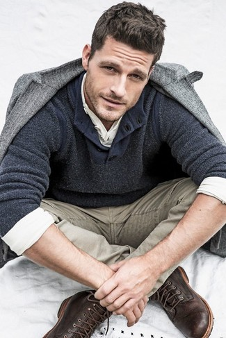 How to wear: khaki jeans, white long sleeve henley shirt, charcoal henley sweater, grey herringbone wool blazer