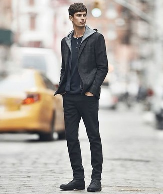 How to Wear a Navy Hoodie For Men: For an outfit that offers comfort and dapperness, wear a navy hoodie with black jeans. Why not complete your outfit with black leather casual boots for an added touch of style?