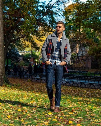 How to wear: navy jeans, navy long sleeve henley shirt, white and red and navy plaid flannel long sleeve shirt, grey pea coat