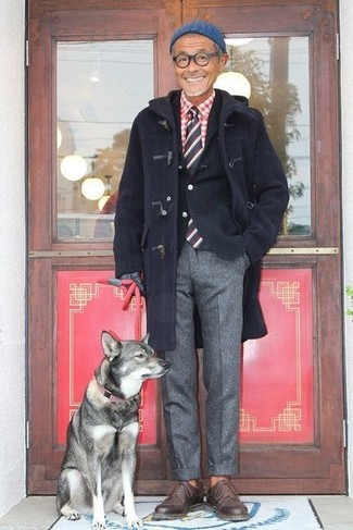 How to wear: grey wool dress pants, red and white gingham long sleeve shirt, black cotton blazer, navy duffle coat