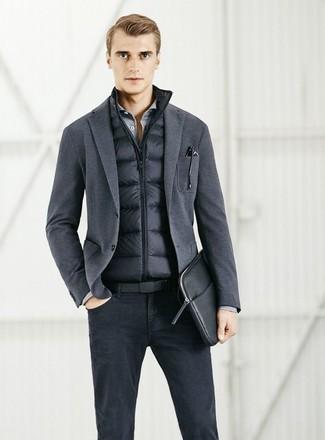 How to wear: black jeans, grey long sleeve shirt, charcoal knit blazer, black gilet
