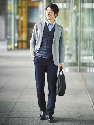 How to wear: navy chinos, light blue long sleeve shirt, grey knit blazer, navy gilet