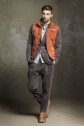 How to wear: white crew-neck t-shirt, grey chambray long sleeve shirt, brown corduroy blazer, tobacco suede gilet