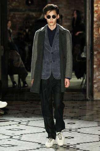 How to wear: black dress pants, navy long sleeve shirt, charcoal denim blazer, grey overcoat