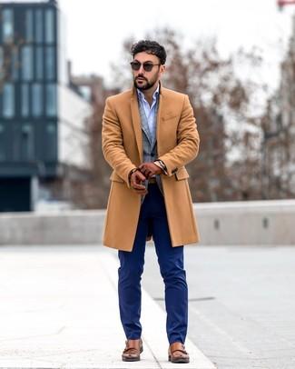 How to wear: navy dress pants, light blue long sleeve shirt, grey plaid blazer, camel overcoat