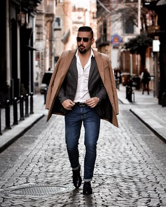 How to wear: navy jeans, white long sleeve shirt, charcoal wool blazer, camel overcoat