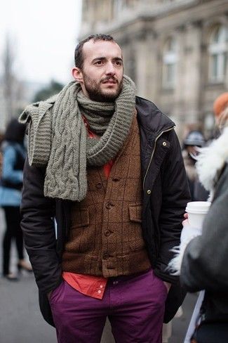 How to wear: purple chinos, red long sleeve shirt, brown plaid wool blazer, black parka