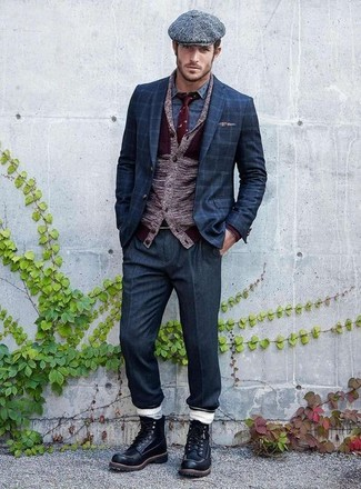 How to wear: navy dress pants, blue print long sleeve shirt, navy check blazer, burgundy shawl cardigan