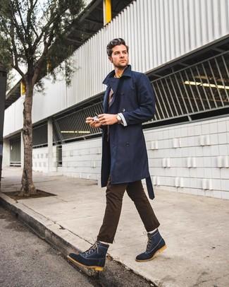 How to wear: dark brown chinos, yellow long sleeve shirt, dark brown blazer, navy trenchcoat