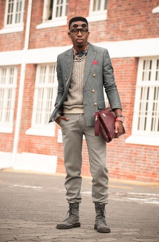 How to wear: brown wool dress pants, navy print long sleeve shirt, beige cable sweater, grey wool double breasted blazer
