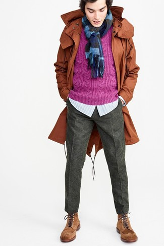 How to wear: charcoal wool dress pants, light blue vertical striped long sleeve shirt, purple cable sweater, tobacco fishtail parka