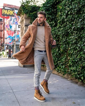 How to wear: grey chinos, navy plaid long sleeve shirt, beige cable sweater, tan fur coat