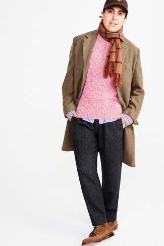 How to wear: charcoal herringbone wool dress pants, light blue vertical striped long sleeve shirt, hot pink cable sweater, camel overcoat
