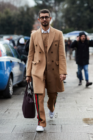 How to wear: khaki wool dress pants, white long sleeve shirt, tan cable sweater, camel overcoat