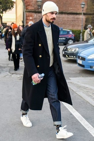 How to Wear a White Beanie For Men: We all want comfort when it comes to styling, and this relaxed casual combination of a navy overcoat and a white beanie is a wonderful example of that. When not sure as to the footwear, go with white and blue canvas low top sneakers.