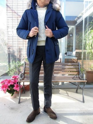 How to wear: black wool dress pants, white and black gingham long sleeve shirt, white cable sweater, blue parka