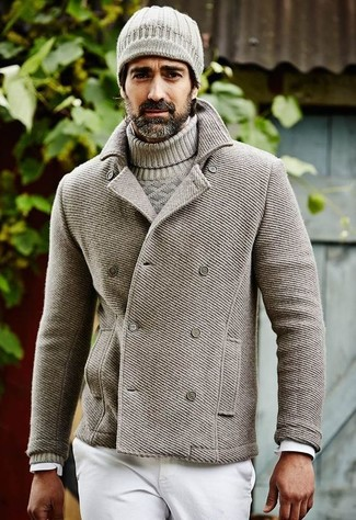 How to wear: white jeans, white long sleeve shirt, grey cable sweater, grey pea coat
