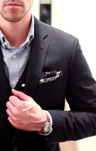 How to wear: dark purple paisley pocket square, light blue chambray long sleeve shirt, black cardigan, black blazer