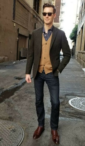 How to wear: navy jeans, navy and white check long sleeve shirt, tan cardigan, olive wool blazer