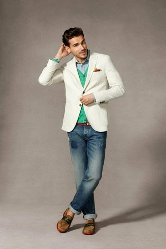 How to wear: navy ripped jeans, light blue long sleeve shirt, mint cardigan, white blazer