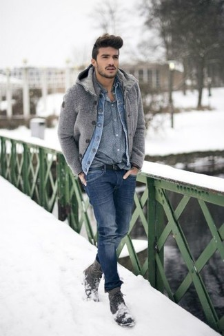 99efea846253 How To Wear Blue Skinny Jeans With a Grey Long Sleeve Shirt For Men ...
