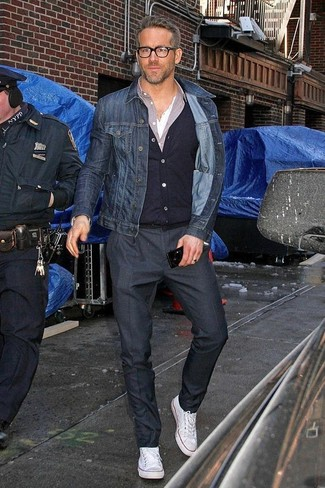 How to wear: white henley shirt, light violet long sleeve shirt, black cardigan, navy denim jacket