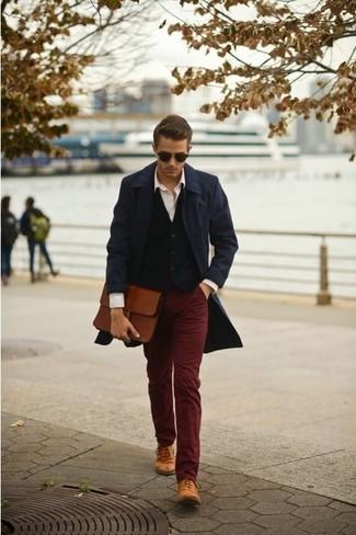 Plus Skinny Smart Trousers In Burgundy