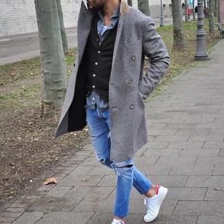 How to wear: white crew-neck t-shirt, grey long sleeve shirt, dark brown cardigan, grey overcoat