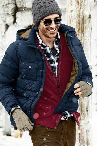 How to wear: black crew-neck t-shirt, black and white plaid long sleeve shirt, burgundy cardigan, navy puffer jacket