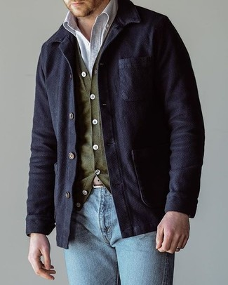 How to wear: light blue jeans, white long sleeve shirt, olive cardigan, navy cotton shirt jacket