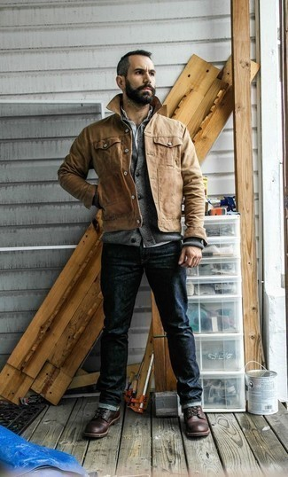 How to Wear a Grey Cardigan For Men: A grey cardigan and navy jeans worn together are a match made in heaven for gentlemen who appreciate casually cool outfits. To bring a bit of zing to your getup, complement this getup with dark brown leather casual boots.