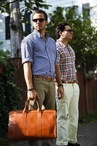 How to wear: white and blue gingham long sleeve shirt, khaki chinos, tobacco leather holdall, multi colored canvas belt