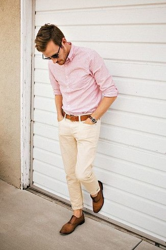 How to wear: pink vertical striped long sleeve shirt, beige chinos, brown leather oxford shoes, brown leather belt
